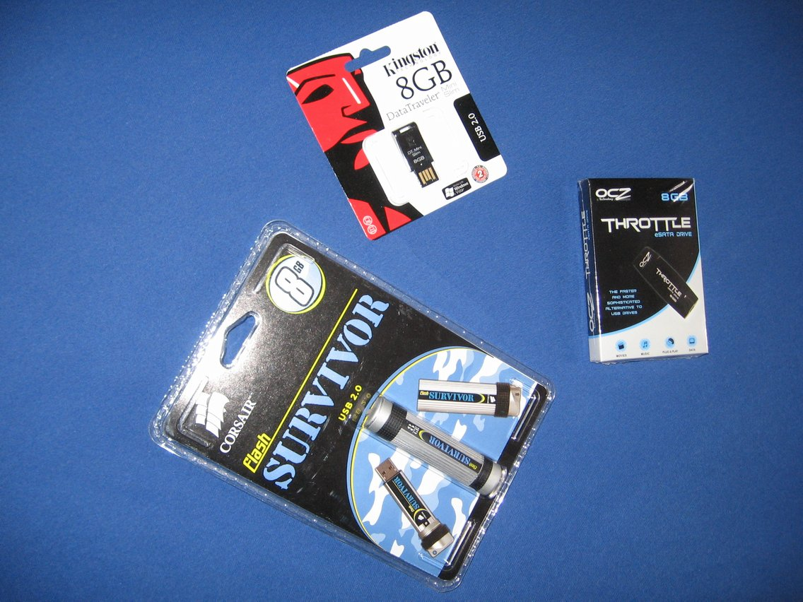 Corsair Survivor, Kingston DataTraveller – Mini Slim, OCZ Throttle