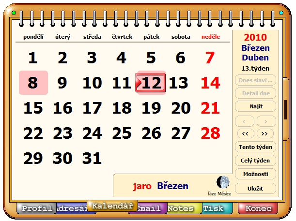 Organizér - kalendář