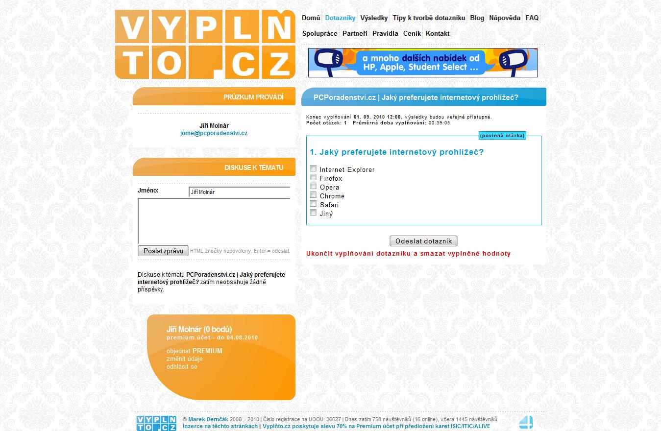 Screenshot of Vyplnto.cz