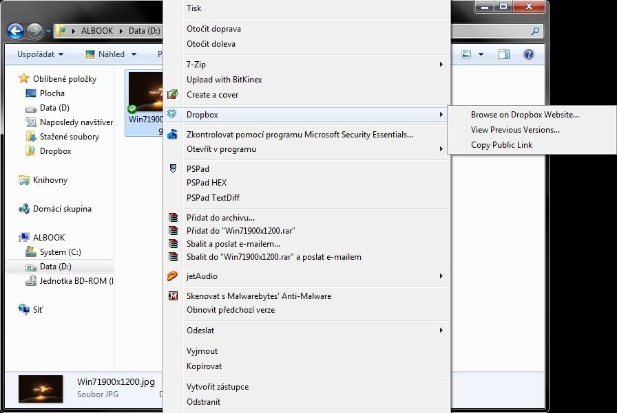 Funkce Dropboxu - složka public