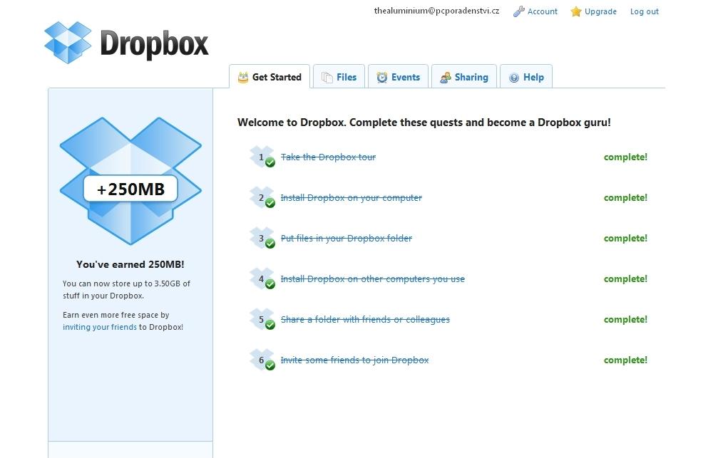 Webové rozhraní Dropboxu