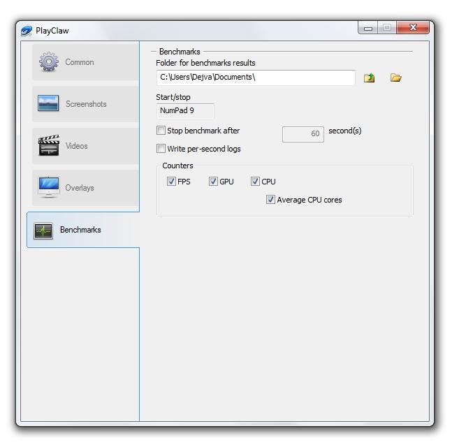 Game Camcorder: interface