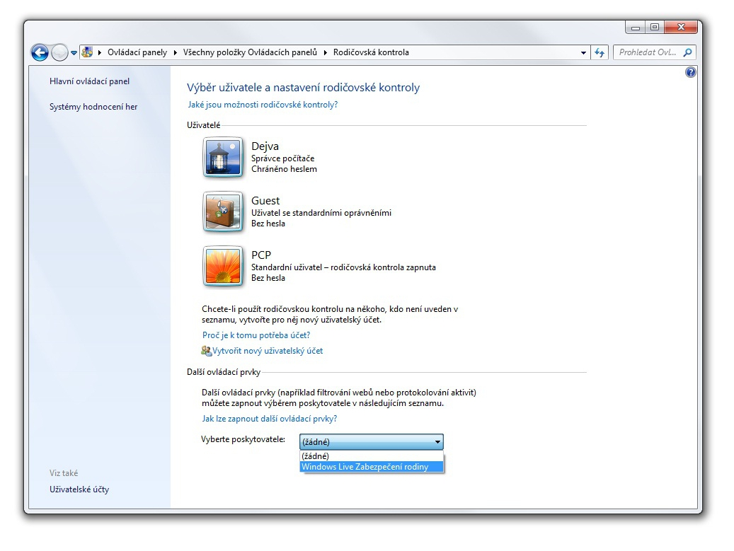 rodičovská ochrana ve Windows 7
