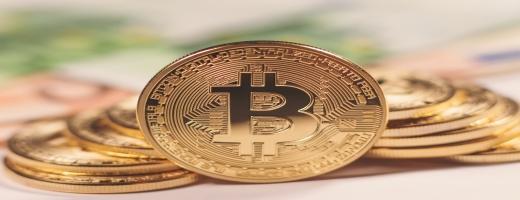 Znak krpytoměny Bitcoin.