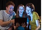 people watching video on tablet